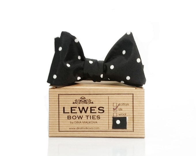 Black white polka dot silk self tie bow tie