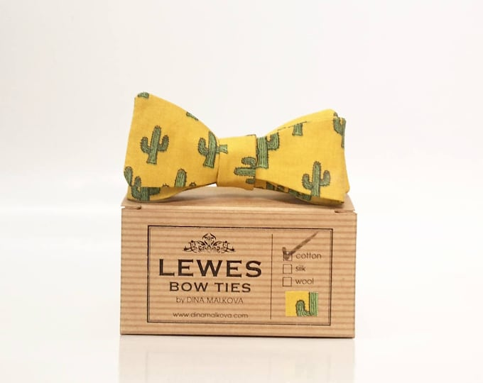 Mustard yellow cotton men's skinny bow tie with charming cactus print
