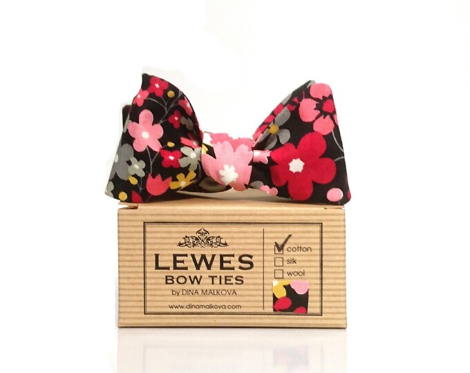 Pink and sage green flowers on black self tie bow tie