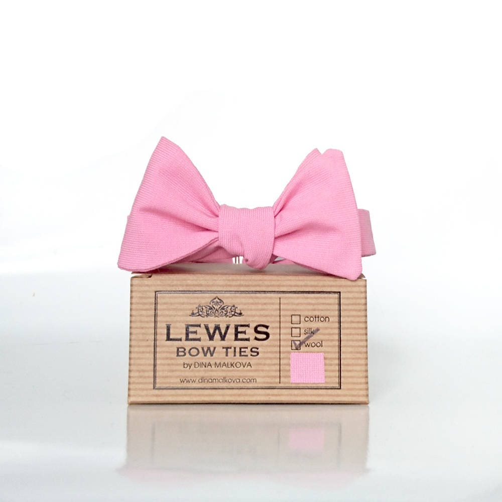 Men\'s self tie bow tie made from pink textured wool fabric, pink ...