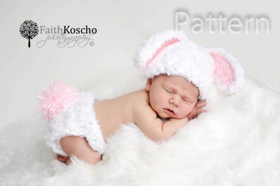 Pdf Crochet Pattern Bunny Hat And Diaper Cover Baby Newborn