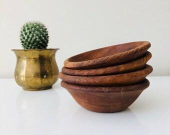 Vintage Wood Bowls Set Of (4) Rustic Wood Salad/Snack Bowls Farmhouse Kitchen  Boho Decor
