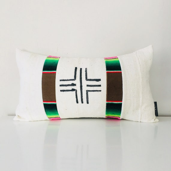 "Boho Swiss Cross White Mudcloth Pillow Cover 14""x24"" Lumbar Cushion Pillow Black Geometric Motif Brown Serape Colorful Striped"