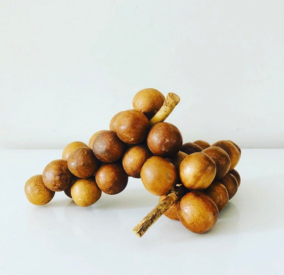 Vintage Wood Grapes Set of (2) Mid Century Wooden Grape Clusters Hand Carved Decorative Wooden Fruit