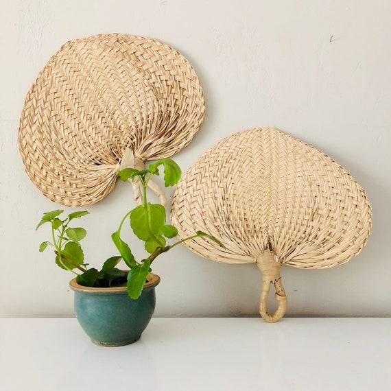 Vintage Woven Straw Fans Set of (2) Tan Medium Sized Raffia Hand Fans Wall Hanging Boho Decor