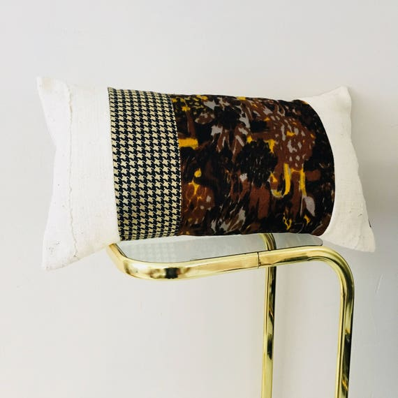 "Vintage Brown Gray Yellow Abstract Pillow Cover 14""x24"" Lumbar Cushion Pillow Black and Metallic Gold Houndstooth White Mudcloth Pillow"