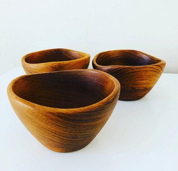 Vintage Brown Wood Bowls Set of (3) Teak Handmade Wooden Snack Bowls Farmhouse Kitchen Boho Decor