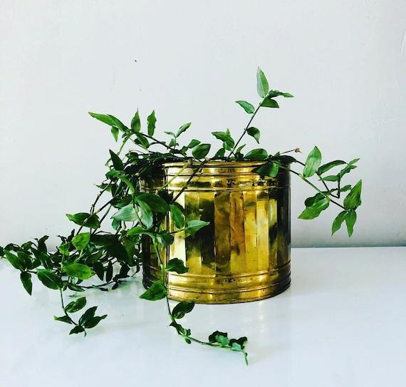 Vintage Brass Planter Medium Brass Bowl Plant Holder Hollywood Regency Gold Planter Flower Pot Boho Bohemian Decor