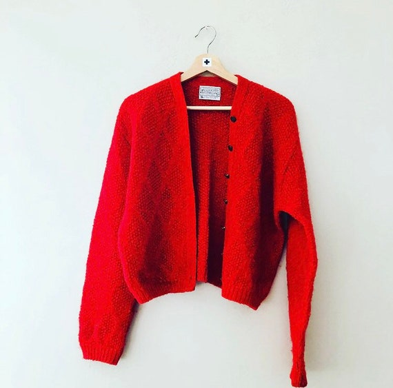 Vintage Red Wool Pendleton Sweater Decorative Gold Button Up Knit Virgin Wool Cardigan