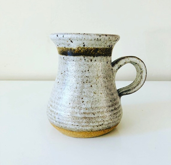 Vintage White Stoneware Mug Handmade Speckled Ceramic Coffee/Tea Mug