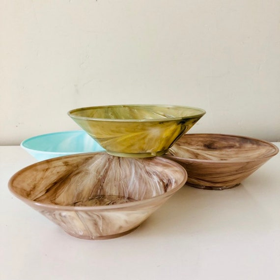 Vintage Marbled Bowls Set of (4) Mid Century Round Brown, Green and Turquoise Plastic Snack/Cereal Bowls