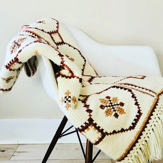 Vintage Cream Colored Afghan Hand Knit Off White Brown and Rusty Orange Geometric Crochet Throw Blanket with Fringe Boho Decor