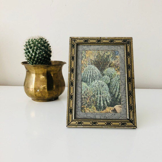 "Vintage Gold Metal Frame 5""x7"" Black and Gold Frame with Cactus Postcard Tabletop Frame"
