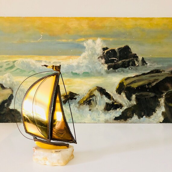 Vintage DEMOTT Signed Brass Sailboat Nautical Decor Mid Century Modern DEMOTT Metal Art Sculpture White Onyx Stone