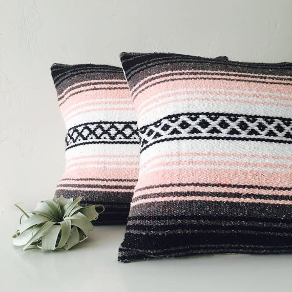 """Boho Pink Tribal Pillow Cover 18""""x18"""" Square Cushion Pillow Ethnic Bohemian Blush Pink Grey White Black Striped Upcycled Mexican Blanket"""