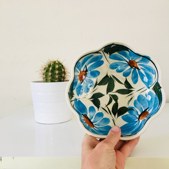 Vintage Floral Bowl Mexican Hand Painted Ceramic Salad Bowl Blue Green Flowers Mexican Pottery Boho Kitchen Decor