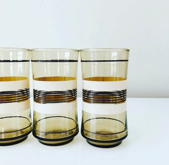 Vintage Brown Striped Glasses Set of (3) Retro Modern Tall Glass Tumblers