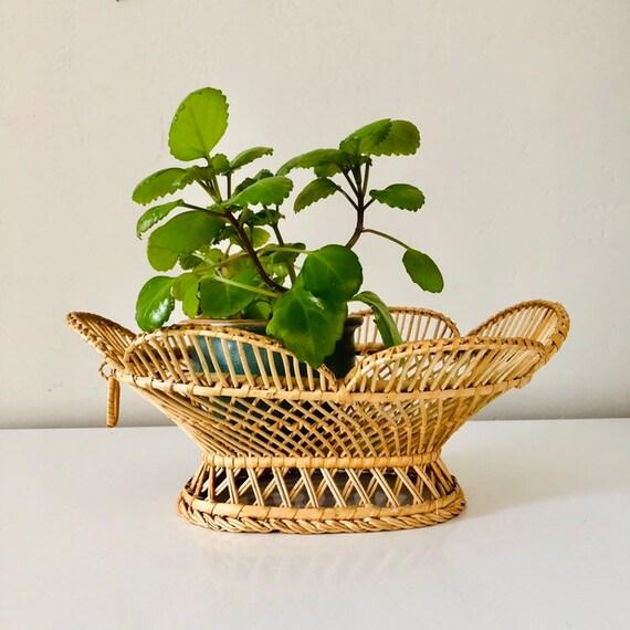 Vintage Wicker Basket Floral Shaped Decorative Woven Wicker Basket Boho Decor