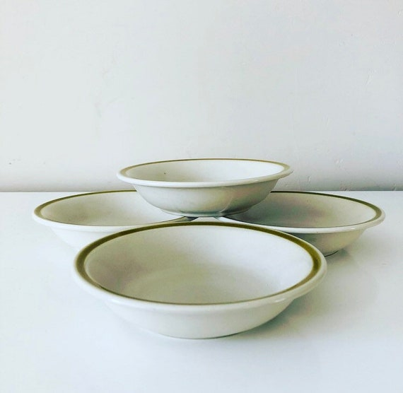 Vintage Stoneware Bowls Set of (4) Small White Ceramic Dessert Bowls Avocado Green Striped Bowls Made in Japan