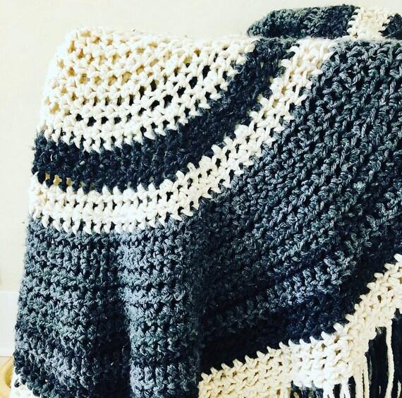Vintage Round Afghan Handmade Black Cream White Gray Striped Crochet Circular Blanket Boho Decor