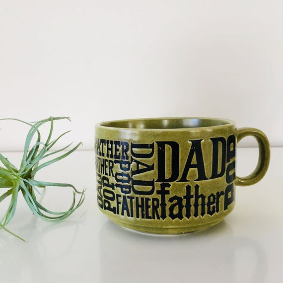 Vintage Green Father Dad Coffee Mug Oversized Green Soup Mug Fathers Day Gift Stoneware Cup