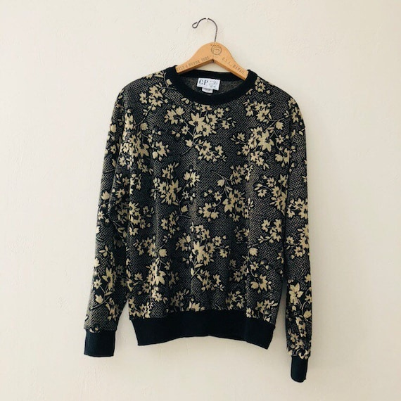 Vintage Black Sweatshirt 80s Metallic Gold Floral Crew Neck Pullover Polyester Sweater