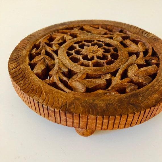 Vintage Rosewood Trivet Ornate Hand Carved Rustic Floral Bohemian Plant Stand Boho Decor