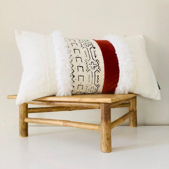 "Boho Black and White Tribal Pillow Cover 14""x24"" Lumbar Cushion Faux Fur Geometric White Mudcloth Pillow Rust Orange Velvet Bohemian Decor"