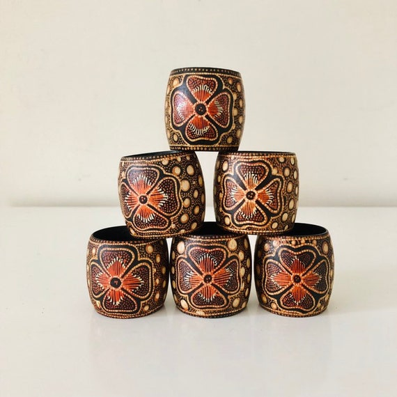 Vintage Bamboo Napkin Rings Set of (6) Hand Painted Black Orange Floral and Polka Dots Bohemian Kitchen Boho Decor