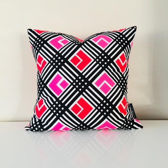 "SALE Retro Mod Black and White Pillow Cover 18""x18"" Square Cushion Pillow Red Pink Geometric Pattern Black Stripes"
