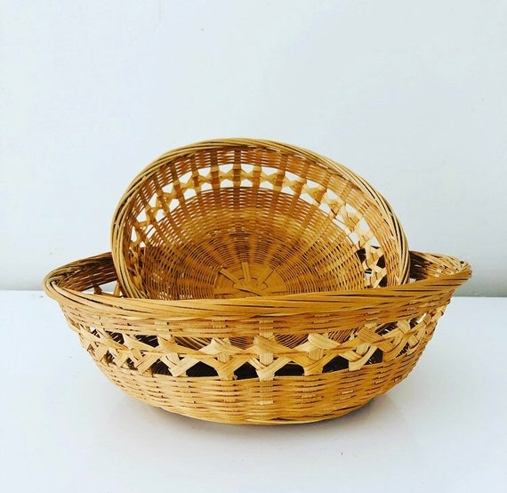 Vintage Wicker Baskets Set of (2) Round Woven Rattan Storage Baskets Decorative Wall Basket Boho Decor