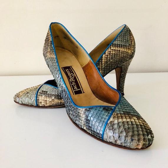 80s Vintage JACK ROGERS Blue Grey Snakeskin Heels Bright Blue Trim Snake Print Stilettos Size 8.5