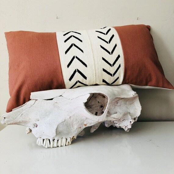 "Boho White Mudcloth Tribal Pillow Cover 14""x24"" Lumbar Cushion Vintage Rusty Orange Pillow Black Geometric Ethnic Bohemian"