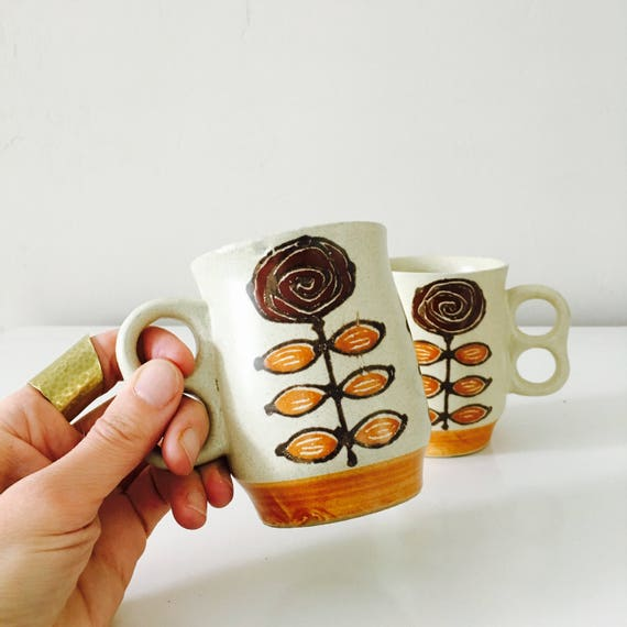 Vintage Stoneware Mugs 1970's Set of 2 Coffee Mugs Ceramic Floral Mid Century Flower Tea Mugs