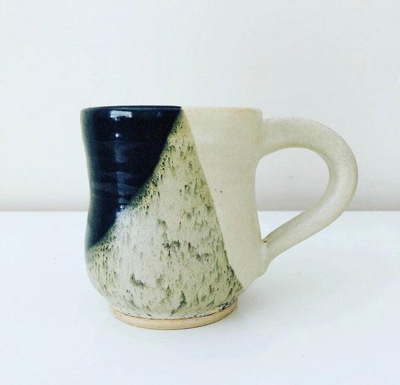 Vintage Ceramic Mug Handmade Stoneware Coffee Mug Black Gray White Ceramic Boho Coffee Cup