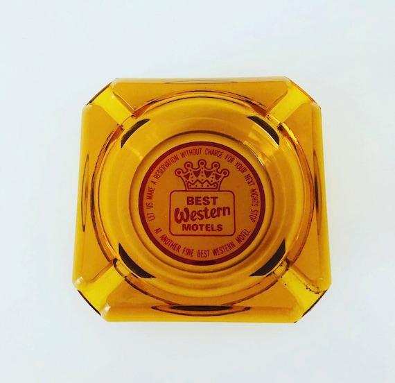 Vintage BEST WESTERN Ashtray Orange Amber Colored Glass Motel Ashtray