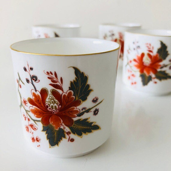 Vintage White Floral Cups English Bone China Orange Gray Flower Gold Rim Ceramic Sake Cups Made in England