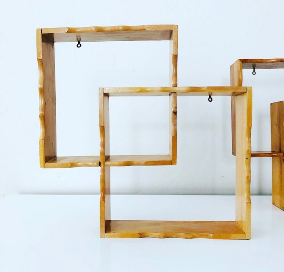 Vintage Wood Shadow Box Shelves Set of (2) Small Mid Century Interlocking Square Knick Knack Wall Hanging Shelf Boho Decor