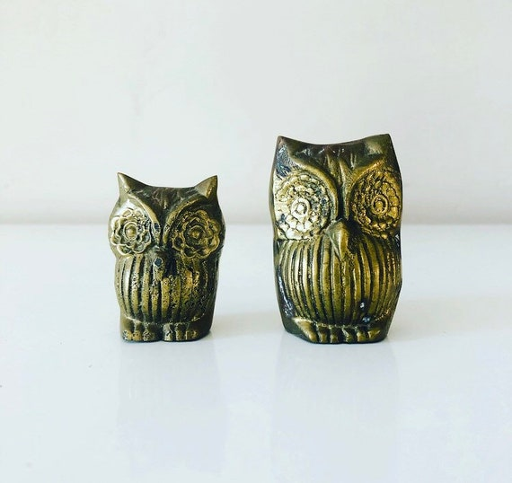 Vintage Brass Owl Figurines Set of (2) Etched Solid Brass Owl Statues Bohemian Bird Decor
