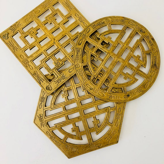 Vintage Brass Trivets Set of (3) Etched Solid Brass Asian Trivets Geometric Shaped Hot Plate/Coasters Plant Stands Boho Decor