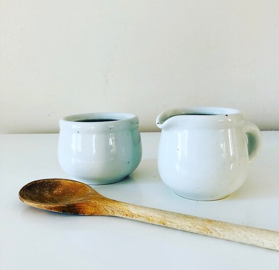 Vintage White Ceramic Creamer and Sugar Bowl GALAXY Trend Pacific Stoneware