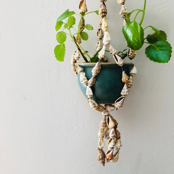 Vintage Shell Plant Hanger Bohemian Seashell Plant Holder Boho Decor