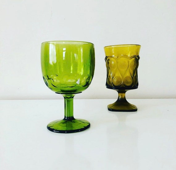 Vintage Green Glass Goblet