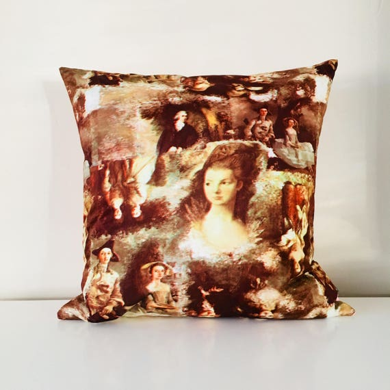 "SALE Boho Brown Vintage Portrait Pillow 18""x18"" Square Cushion Cover Baroque Era Art Portrait Painting"