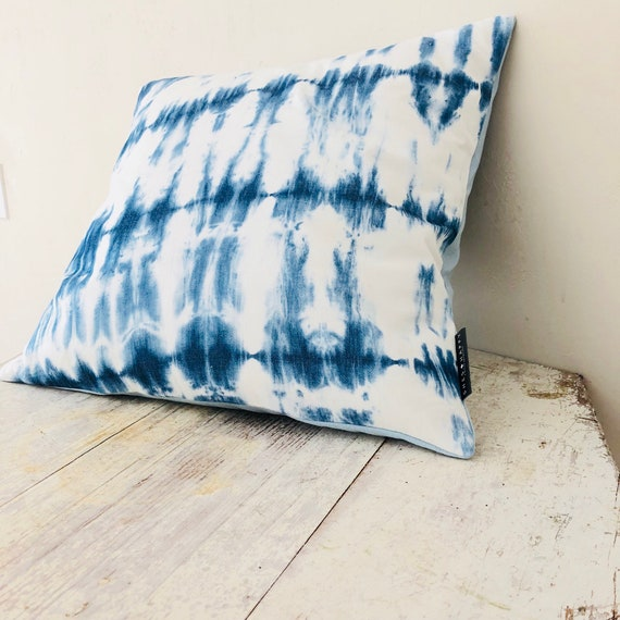"Boho indigo Shibori Pillow Cover 18""x18"" Square Cushion Blue Tie Dye Pillow Bohemian Boho Decor"