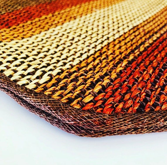 Vintage Straw Placemats Set of (2) Brown Beige Woven Natural Striped Straw Rattan Mats Boho Tableware Decor