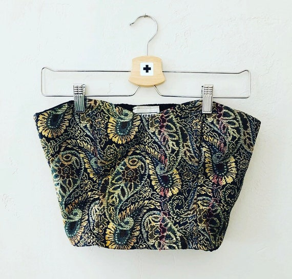 Vintage Paisley Bustier 80's Metallic Gold and Black Strapless Crop Top