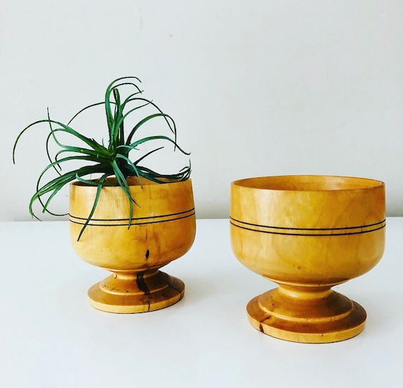 Vintage Wood Goblets Set of (2) Handmade Wooden Cups Air Plant Succulent Holder Boho Decor