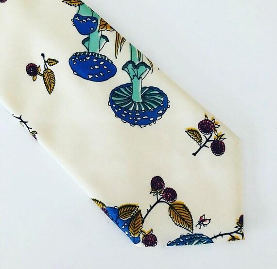 Vintage TERGAL Men's Tie Ivory Polyester French Necktie Turquoise Blue/Green Mushrooms Snails Orange Woodland Leaves