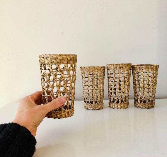 Vintage Wicker Glass Holders Tall Woven Straw Tumbler Baskets Boho Drinkware